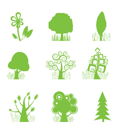 cedar tree: Abstract Tree Collection icon Illustration