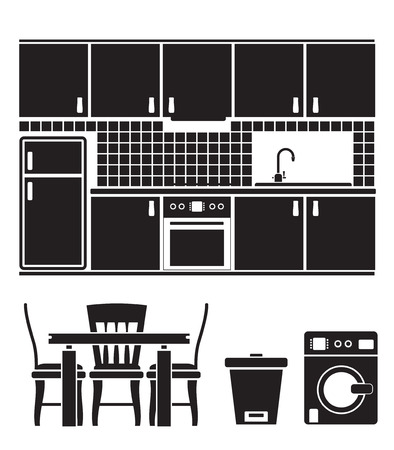 kitchen objects, furniture and equipment Stock Vector - 8738746