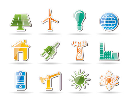 power, energy and electricity objects Vector
