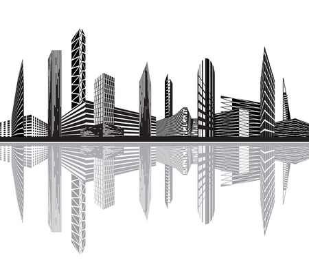 tall building: Black and white city