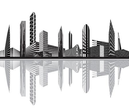 edificio industrial: Ciudad de blanco y negro