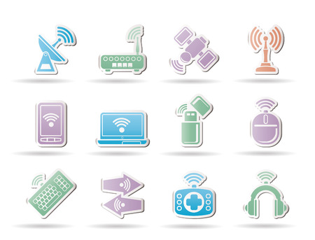 Wireless and communication technology objects Stock Vector - 8865356