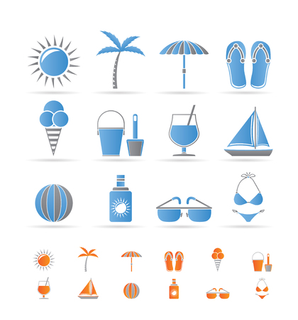 Realistic Summer and Holiday objects Vector