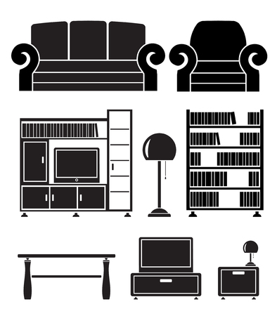 furnishing: woonkamer objecten, meubilair en apparatuur Stock Illustratie