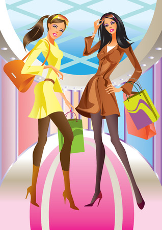 body bag: two fashion shopping girl with  bag in mall Illustration