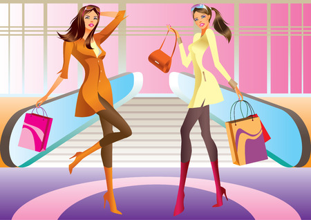 two fashion shopping girl with bag in mall Vector