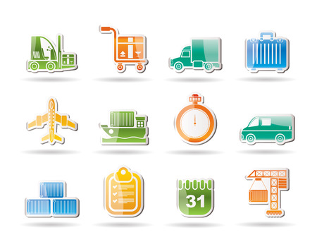 logistics, shipping and transportation objects Vector