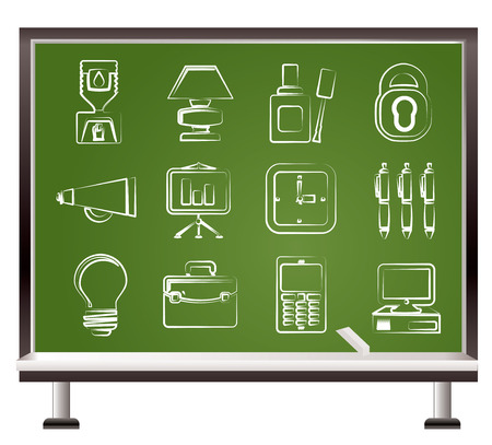 painted with chalk Business and office icons Vector