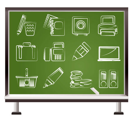 painted with chalk Business, Office and Finance Icons Vector