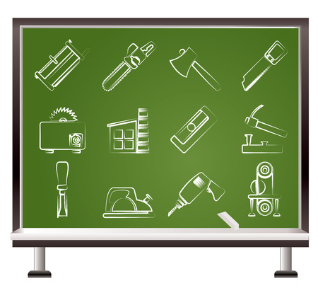 painted with chalk Woodworking industry and Woodworking tools icons Vector
