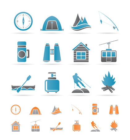 travel, Tourism, vacation  and mountain objects Vector