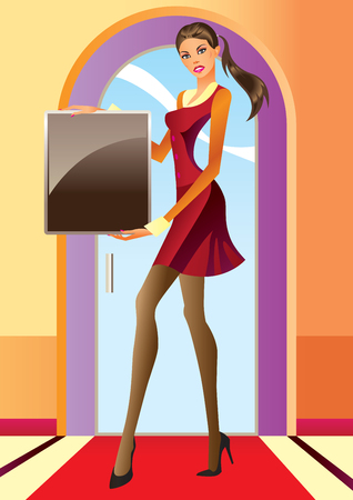 fashion girl with  advertisement board Vector
