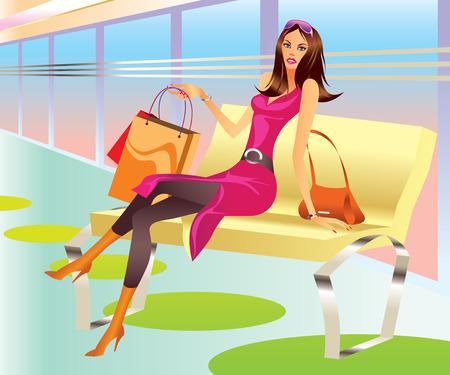 fashion shopping: chica de tiendas de moda con bolsa de relajarse en centro comercial Vectores