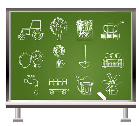 agrarian: painted with chalk farming industry and farming tools  - vector illustration