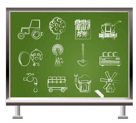 agrario: pintado con tiza, industria y agricultura de herramientas - ilustraci�n vectorial