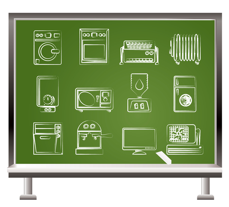 household goods: painted with chalk Home electronics and equipment objects - vector illustration