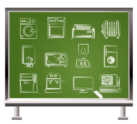 Accueil electronics et équipement objets - illustration vectorielle peints avec chalk