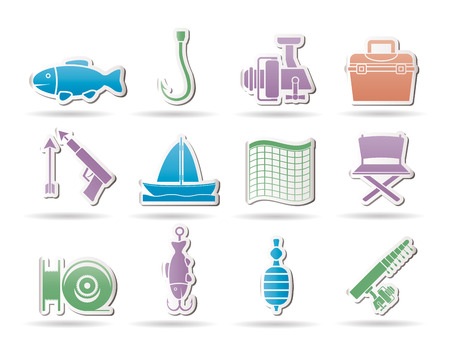 work boat: Fishing and holiday icons - vector icon set Illustration