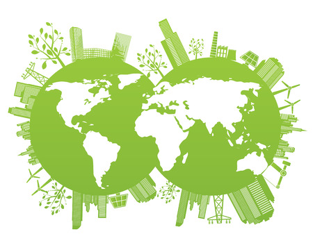 creative industries: Green and environment planet background - vector illustration