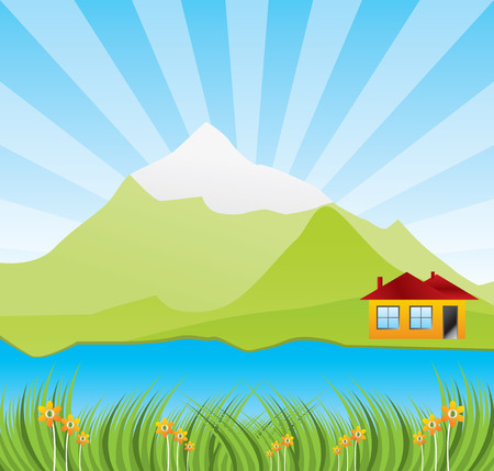 Spring sunny landscape with river - vector illustration  Vector