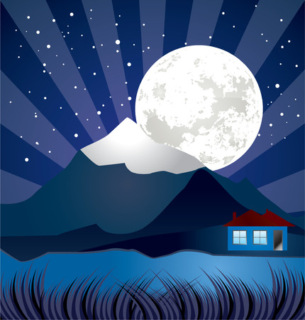 night landscape with river - vector, stars and moon illustration Vector