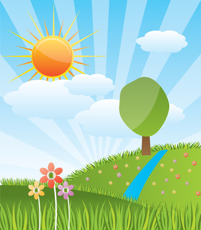 season: Spring sunny landscape with forest river - vector illustration