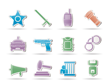 law, order, police and crime icons - vector icon set  Vector