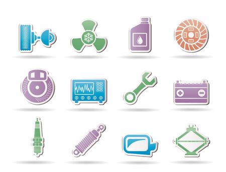 piezas coche: Iconos de partes de autom�viles y servicios - Vector Icon Set Vectores