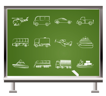 motorbus: pintado con tiza objetos de viajes y transporte - ilustraci�n vectorial