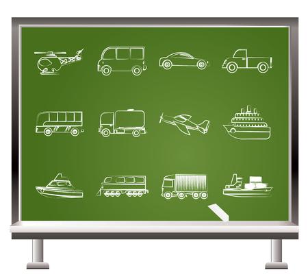 verniciato con gesso oggetti viaggi e trasporti - illustrazione vettoriale