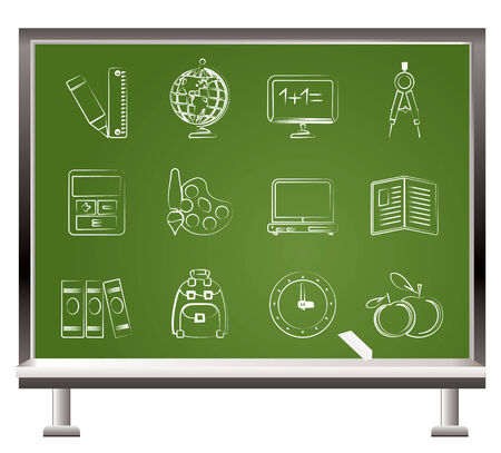 painted with chalk School and education icons - vector icon set Stock Vector - 9059698
