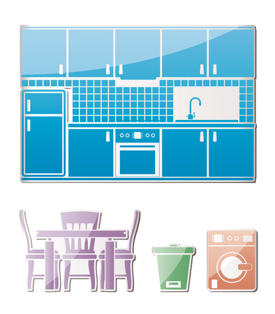 kitchen objects, furniture and equipment - vector illustration Stock Vector - 9059707