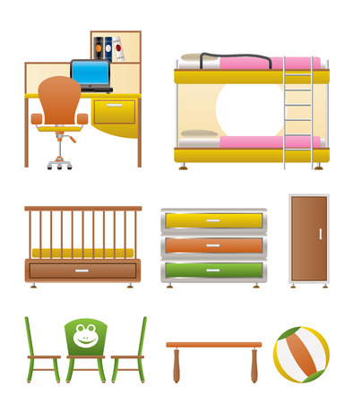 nursery room: nursery and children room objects, furniture and equipment - vector illustration Illustration