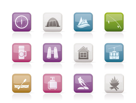 travel, Tourism, vacation  and mountain objects - vector illustration Vector