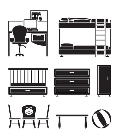 nursery and children room objects, furniture and equipment - vector illustration Stock Vector - 9059693