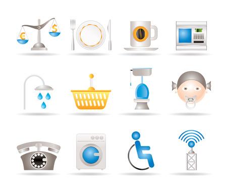 fork road: Carretera, hotel y motel servicios iconos - conjunto de iconos de vectores Vectores