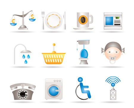 Roadside, hotel and motel services icons  - vector icon set Stock Vector - 9059690