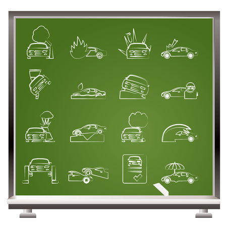 painted with chalk car and transportation insurance and risk icons - vector icon set Vector
