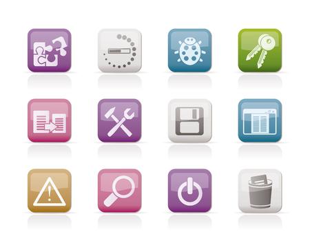 web developer: developer, programming and application icons - vector icon set