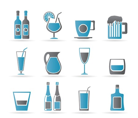 different kind of drink icons - vector icon set Vector