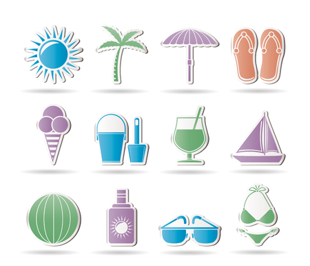 Summer, Holiday and beach objects - Vector Illustration Vector