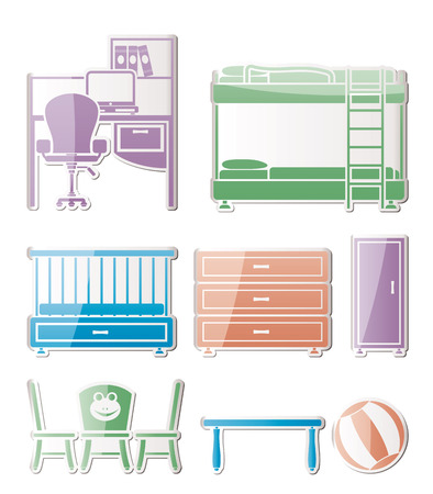nursery and children room objects, furniture and equipment - vector illustration Stock Vector - 9111891