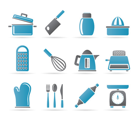 Kitchen and household Utensil Icons - vector icon set Stock Vector - 9111879