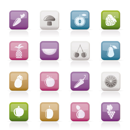 Different kinds of fruits and Vegetable icons - vector icon set Vector