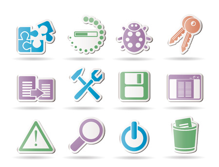 bug key: developer, programming and application icons - vector icon set