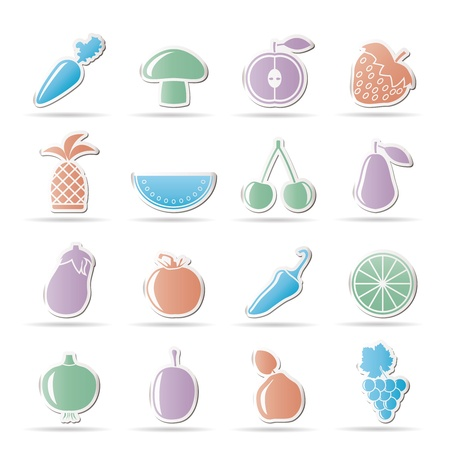 button mushroom: Different kinds of fruits and Vegetable icons - vector icon set