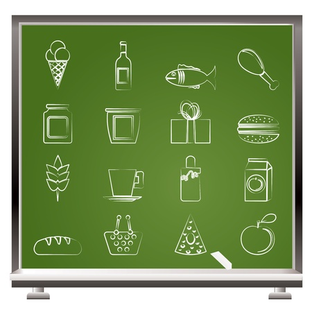 painted with chalk shop, food and drink icons - vector icon set