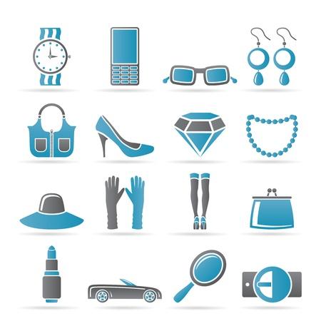 aretes: iconos de accesorios mujer y mujer - ilustraci�n vectorial