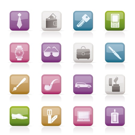 pocket book: man Accessories icons and objects- vector illustration Illustration