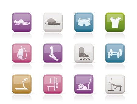 sports equipment and objects icons - vector icon set 1 Vector